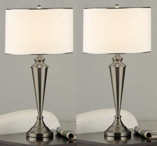 Set of 2 Kings Brand Brush Nickel Metal & Fabric Shade Table Lamps