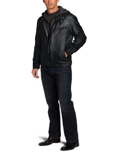 Perry Ellis Men's Pu Hood Insert Jacket