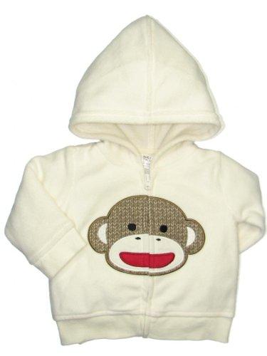 Unisex Baby Ivory Sock Monkey Zipper Fleece Hoodie By Baby Starters - Off-White - 9 Mths / 16-20 Lbs front-1044234