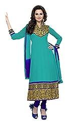 Abida Chiffon Blue Color Unstrich Suit of Monika Bedi