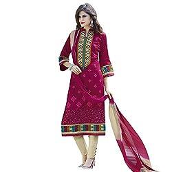 Bhelpuri Women Pink Cotton Dress Material