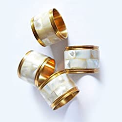 State of the Art Napkin Rings, White Mother of Pearl with Golden Lining - Set of 4, Napkin Holders, Gift Boxed, Home & Kitchen, Tableware, Cutlery, Dining Table Accessories, Holders & Rings for Napkins