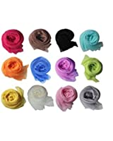 12pc Fashion Womens Fancy Soft Lightweight Solid Shawl Scarves Mixed Lot