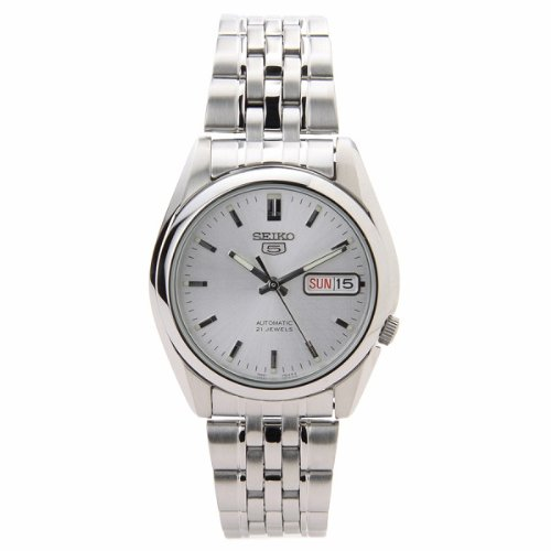 Seiko Men's SNK355K Seiko 5 Automatic Silver Dial Stainless Steel Watch