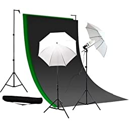 Caltar Photography Photo Video Continuous Lighting Kit, 10ft Background Support, with Green Chromakey - Black and White 10 X 10 Muslin Backdrops, with Free Carry Case