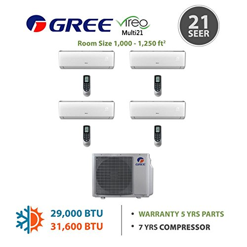 GREE Multi21 Quad-Zone VIREO Ductless Mini-Split System 30,000 BTU Inverter Heat Pump (9k, 9k, 12k, 12k Indoor) 208-230 V (Multi Zone Gree Mini Split compare prices)