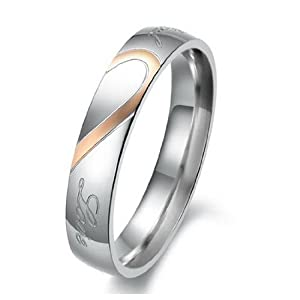 JBlue Jewelry Women's Real Love Heart Stainless Steel Band Ring Valentine Love Couples Wedding Engagement Promise Size7 (with Gift Bag) from JBlue Jewelry