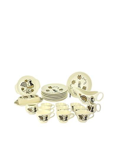 Uptown Down Found Farmhouse Tableware Set, Brown/White/Black As You See