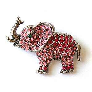 Pink Elephant Trunk Up Pin Brooch set with Swarovski Crystals GOP Gift Limite...