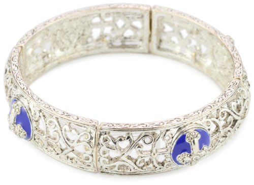 The Vatican Library Collection Silver-tone Blue Enamel Cross Stretch Bracelet