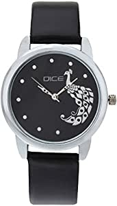 """DICE """"Grace 8835"""" Fashionable, Elegant, Contemporary, Tasteful and attractive Watch for women. Black Dial, Silver case and Anti allergic Leather Strap."""