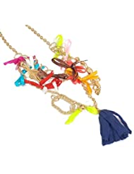 Elegant Elements Gold Plated Multicolored Cotton Tussel Necklace For Women