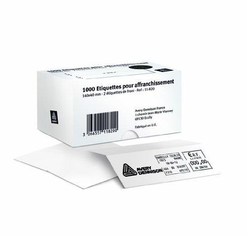 AVERY - 11-822 - 500 étiquettes d'affranchissement blanches adhésives. 140x40mm
