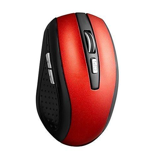 TONOR aufladbar Bluetooth lautlose kabellos schnurlos Funkmaus wireless Maus 800/1200/1600 DPI für PC Mac Tablet Laptop, ohne Klickgeräusche,Rot