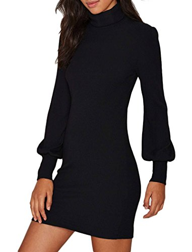 Women Shirt Dress Long Lantern Sleeve Pullover Knitted Casual Sweater Mini Dress