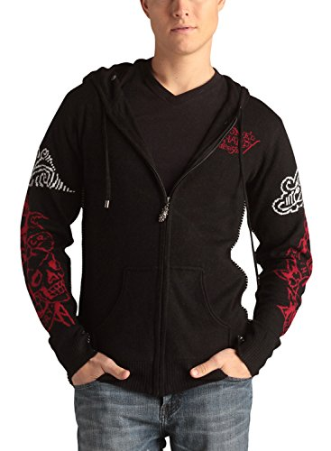 Ed Hardy Mens Tiger And Death Or Glory Long Sleeve Hoodie - Black - X-Large