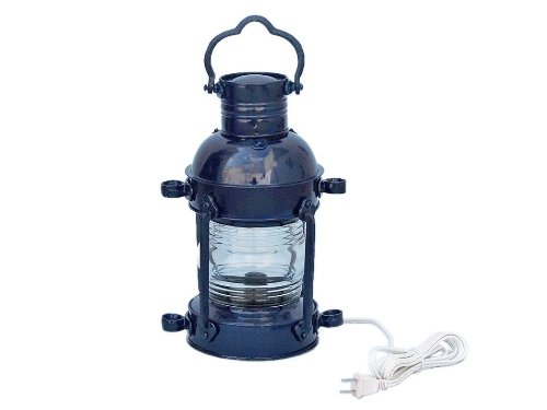 "Handcrafted Nautical Decor Iron Anchor Electric Lamp, 15"", Dark Blue, Iron"