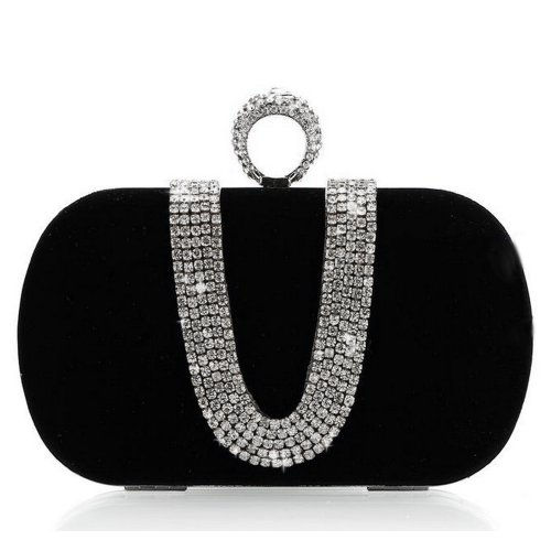 Masione Luxury Handbag Clutch Evening Party Prom Bag With Shinny Rhinestones (Black) front-951824