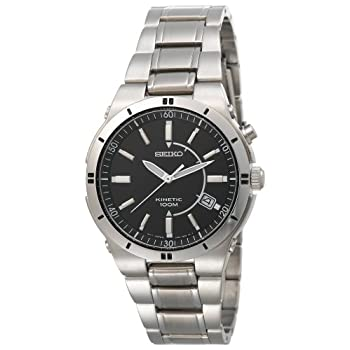 Harnessing the power you generate with each movement, this Seiko Men's Kinetic Silver-Tone Watch #SKA347 features a dramatic black dial face, which is encased by a hardlex dial window. Silver-tone hour and minute indexes bring a stylish contrast, and...