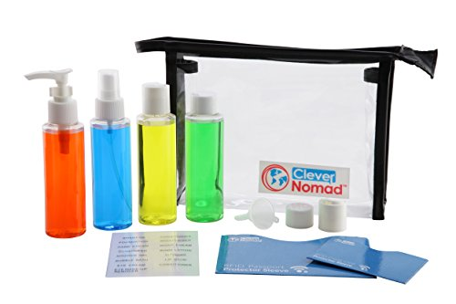 Clever Nomad Premium Airline Travel Bottles Set. TSA Approved 3oz Plastic Containers for Men and Women in a Clear Hanging Toiletry Bag. Stay Organized with Your Cosmetic Accessories.