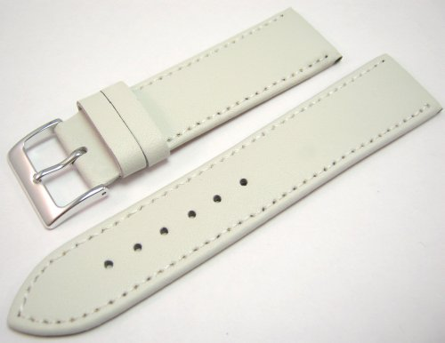 White Leather Watch Strap Band With A Stitched Edging And Nubuck Lining 22mm