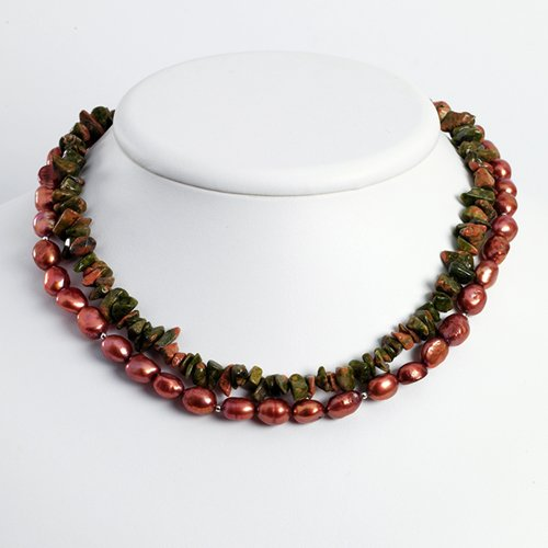 Sterling Silver Copper Cultured Pearl & Unikite Necklace - 16 Inch