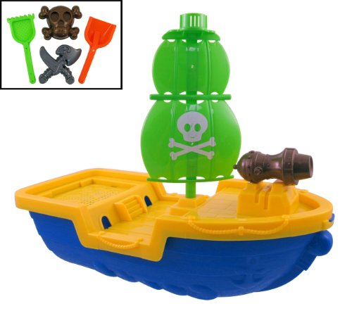 Giant Pirate Ship Beach Toy Set for Kids with Sand Playset