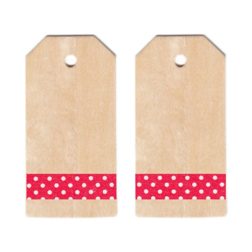 Dress My Cupcake Classic Wooden Gift and Favors Tags DIY Kit, Polka Dot, Red
