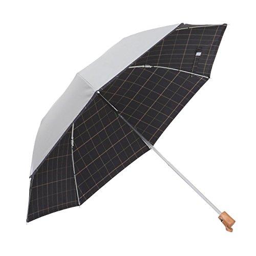 リーベン 日傘 晴雨兼用 折りたたみ シルバー/先染チェック 濃紺 <ひんやり傘> 【LIEBEN-0561】 紫外線遮蔽 UPF50+ UVカット率99%以上 遮光率99%以上 遮熱効果