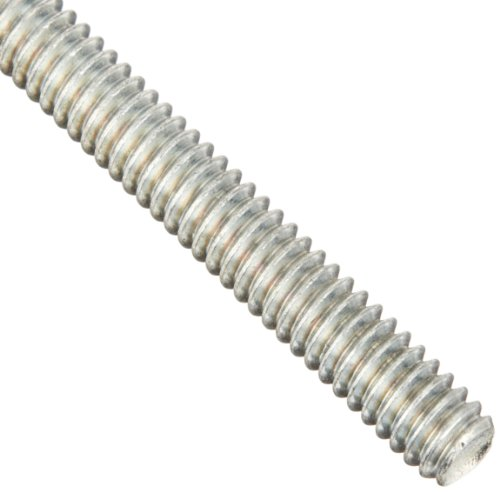 Steel Fully Threaded Rod, Zinc Plated, 1/4″-20 Thread Size, 12″ Length, Right Hand Threads, Made in US