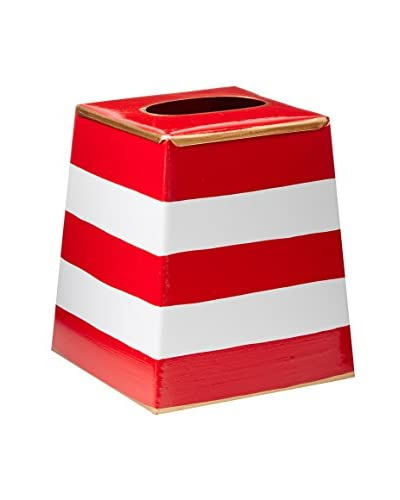 Malabar Bay Horizontal Stripe Tissue Box Cover, Red
