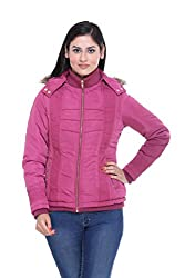 Trufit Full Sleeves Solid Women's Plum Quilted Removable Hood Golden Zip Polyester Bomber Jacket
