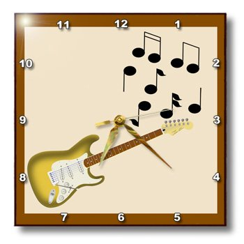 Dpp_23827_2 777Images Designs Graphic Design Music - Gold Sunburst Electric Guitar With Musical Notes - Wall Clocks - 13X13 Wall Clock