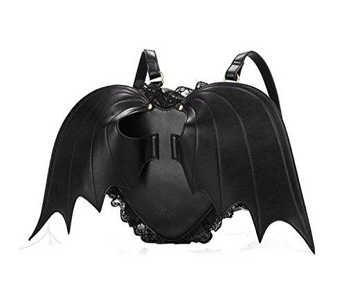 Angel Devil ali di pipistrello Lace Heart-Shaped nero di alta qualitš€ Zaino