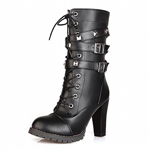 Show-Shine-Womens-Chic-Buckles-and-Rivets-Platform-High-Heel-Western-Motorcycle-Boots