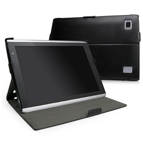 BoxWave Acer Iconia Tab A500 Nero Leather Book Jacket - Protective Synthetic Leather Folding Folio Cover with Adjustable Multi-Angle Viewing Stand - Acer Iconia Tab A500 Cases and Covers