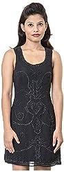 Izna Women's Slim Fit Dress (IDWD1025BLK-X-Large, Black, X-Large)