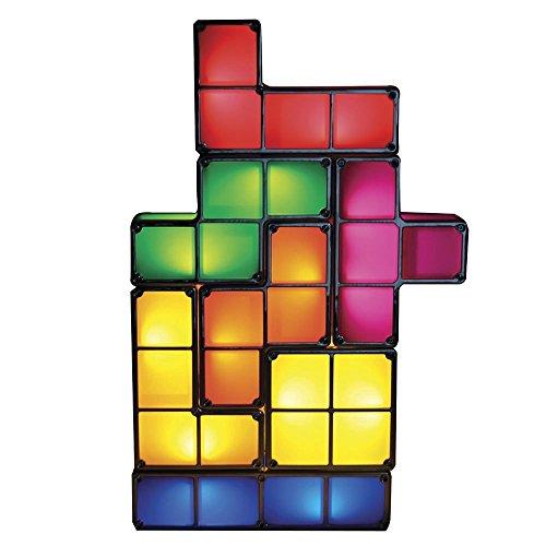 Tetris Puzzle Desk Lamp LED Constructible Block Table Decorative Stackable Night Light- Novelty Design DIY Retro Game Style