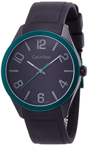 Calvin Klein Unisex Quartz Watch with Black Dial Analogue Display Quartz Rubber K5E51ZB1