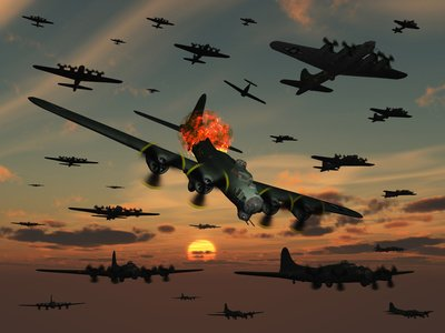 A B-17 Flying Fortress Is Set Ablaze by a German Interceptor Fighter Plane Photographic Poster Print by Stocktrek Images, 18x24