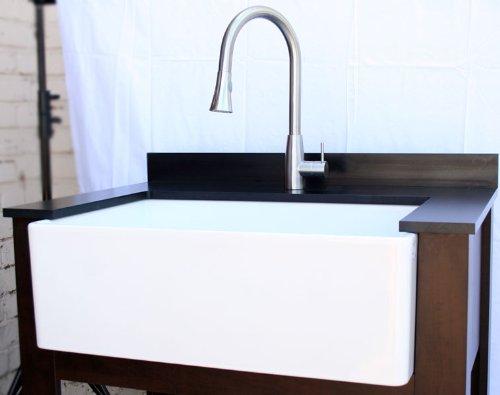 30 Inch White Farmhouse Sink : 30-Inch Contemporary Smooth Fireclay Farmhouse Kitchen Sink, White ...