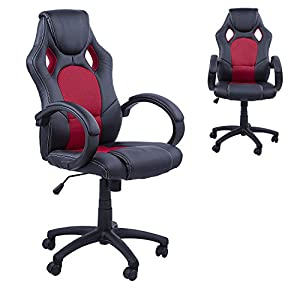 Homcom Racing Gaming Sports Chair Swivel Desk Chair Executive Leather Office
