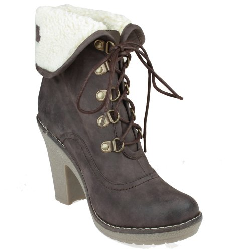Capelli New York Faux Leather Lace Up Bootie With Fold Over Berber Cuff Ladies Boot Brown 10