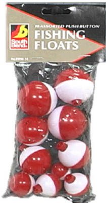 Maurice Sporting Goods  Frw-10 10-Pack Push-Button Red & White Floats - Quantity 12 Floats & Bobber Stops, Fishing