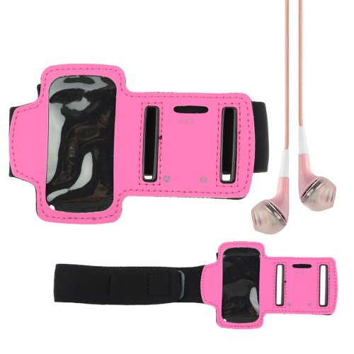 Sport Armband For Ipod Nano 7Th Generation (Rose) + Vangoddy Headphone With Mic , Pink