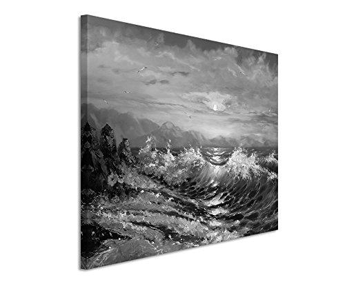 50x70cm Leinwandbild schwarz weiß in Topqualität Malerei Sturm Meer Sonnenuntergang