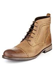 Autograph Leather Brogue Toe Cap Boots