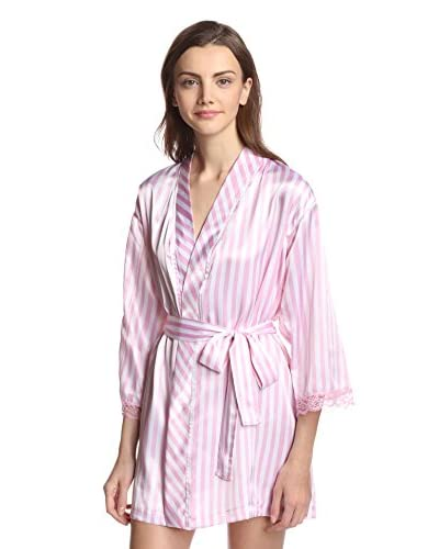Aegean Apparel Women's Short Kimono Seafolly Stripe Printed Satin Robe