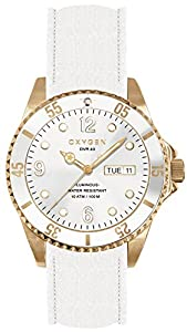 OXYGEN Snow 40 unisex quartz Watch with white Dial analogue Display and white leather Strap EX-D-SNO-40-CL-WH