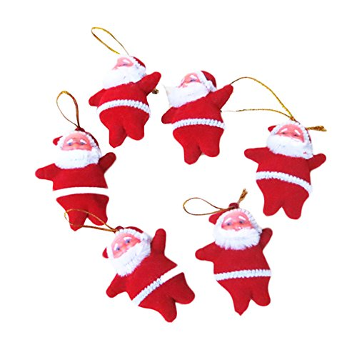 Tr Fashion 6pcs Mini Santa Claus Doll Pendant Hanging Christmas Tree Decorations Christmas Party Ornaments,christmas Gift